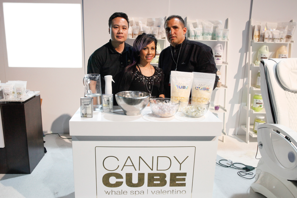 <p>Johnny Ngo, Mariee Holiday, and David Anthony promoted the Candy Cube Complete single-use manicure and pedicure system.</p>