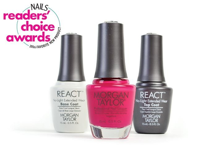 "<p class=""p1""><span class=""s1"">Morgan Taylor&rsquo;s </span>React is a breakthrough in lasting shine and wear. Applied just like a traditional base and top coat, React base coat and top coat can be used with any nail lacquer brand, providing long-lasting shine with easy, soak-free removal.</p> <p class=""p2""><span class=""s2""><strong>www.morgantaylorlacquer.com</strong></span></p>"