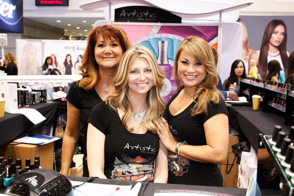 <p>Artistic Nail Design's Lisa Boone, Mary Ore, and Alisha Rimando Botero</p>