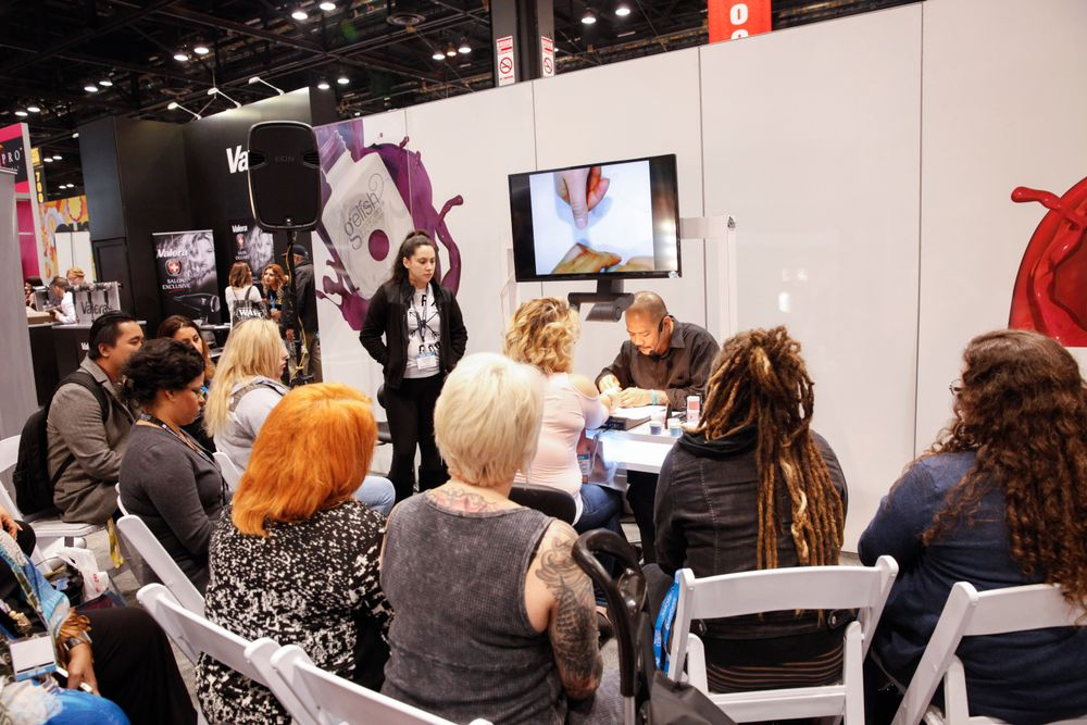"<p>Vu Nguyen demonstrates Gelish's newest product, PolyGel. <a href=""http://www.nailsmag.com/video/117922/how-to-use-gelish-polygel-natural-nail-overlay-and-reverse-french"">Click here for a demo.</a></p>"