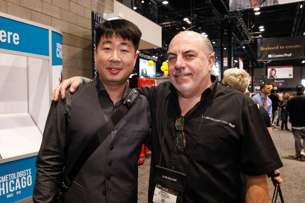 <p>J &amp; A USA's Mike Ahn and Armando Brasiliana.</p>