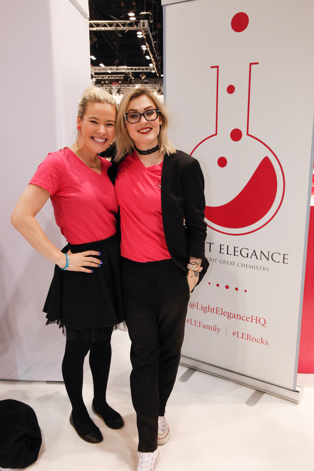 """<p>Light Elegance's Lexy McConnell and educator Celina Ryden. <a href=""""http://www.nailsmag.com/video/118034/light-elegances-mannequin-challenge-at-abs-chicago-2017"""">Check out the Mannequin Challenge video they filmed at the show! (link)</a></p>"""