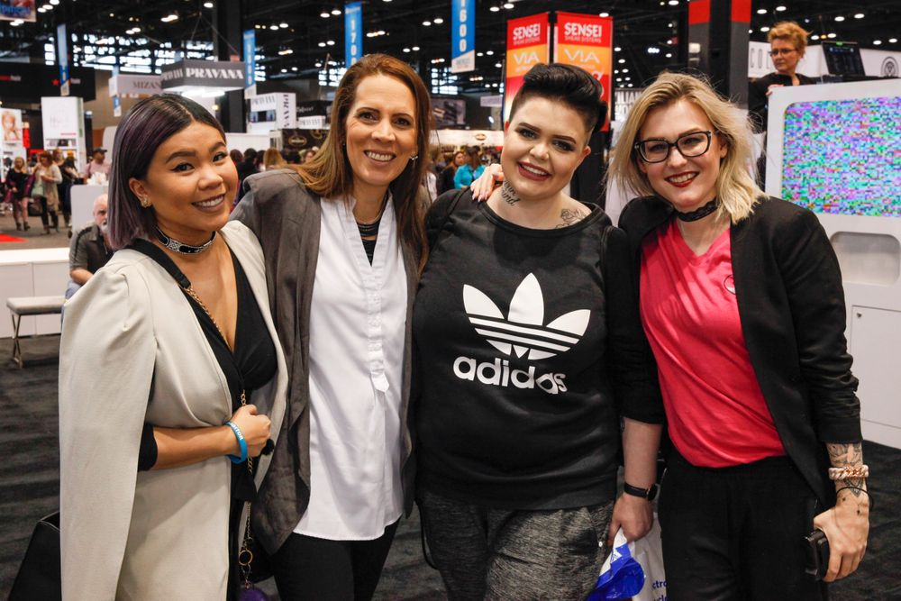 <p>NAILS Next Top Nail Artist competitors from two seasons — Winnie Huang (S.3 winner), Tracey Lee (S.4 winner), Liina Leino, and Celina Ryden</p>