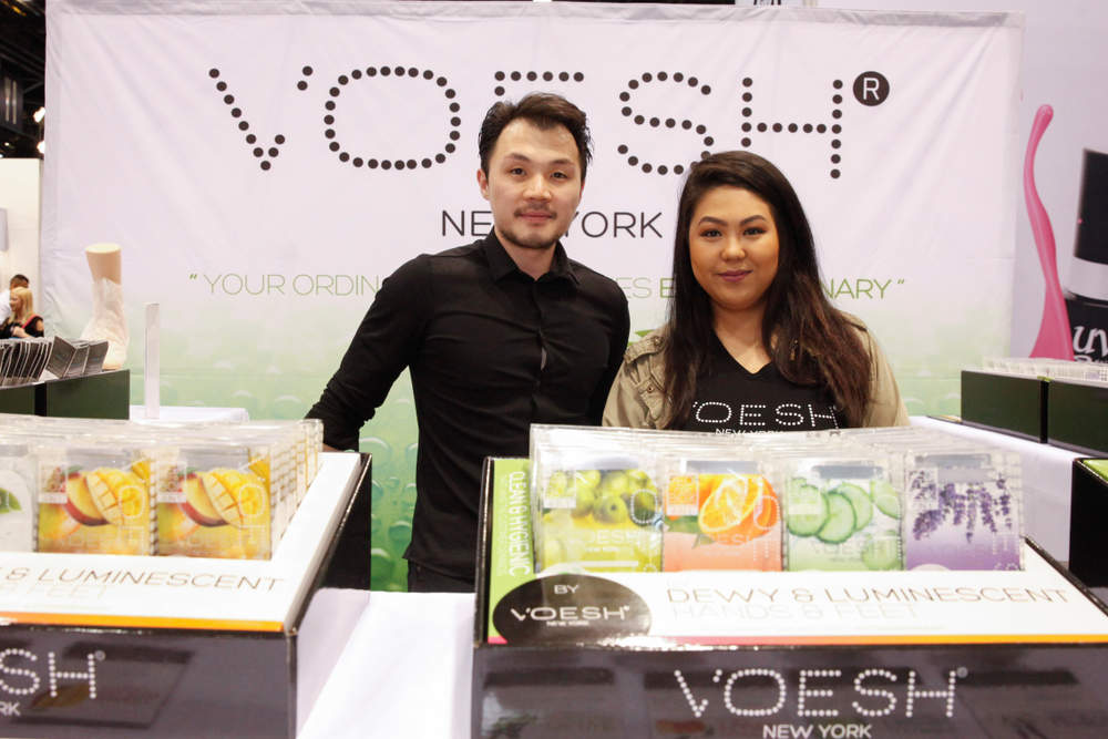 <p>Joseph Choi and Faith Roxas with Voesh New York, the creator of single-use spa products, with a wide assortment of products in 10 scents.</p>