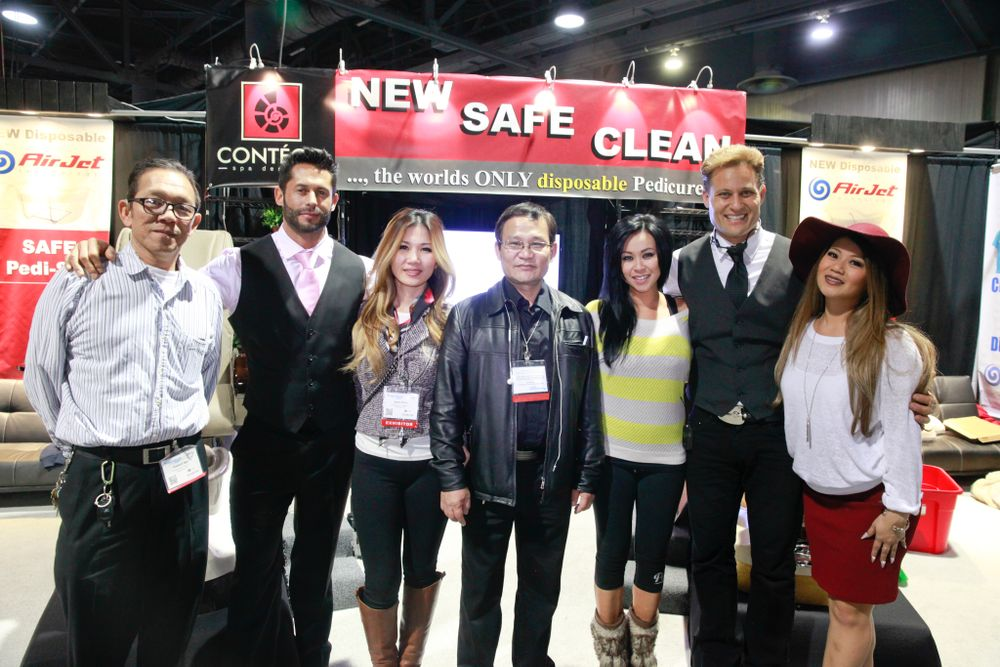 <p>Contego's Howard Ngo, Logan Jason Piette, Leena Nhan, Peter Ta, Lindsay Ta, Paul Bogart, and Jessica&nbsp;Saelim promoted the company's pedicure spa chair with a completely disposable pedicure tub lining system.</p>