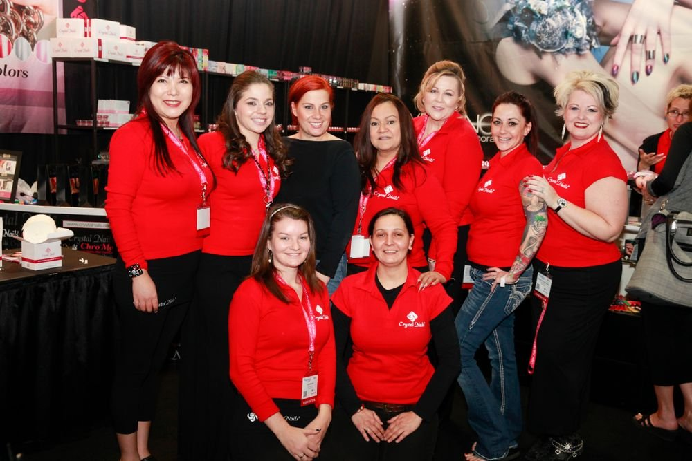 <p>The Crystal Nails team of Yuna Myers, Classic Mully, director Henrietta Almasi, Deedee Desbiens, Sherri Evans, Anna Myers, Phoenix Van Dyke, Seri, and Judit Antos promoted the company's new Hypernova gel.</p>