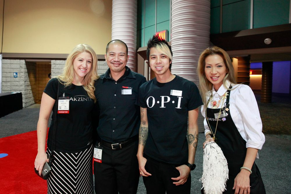 <p>Akzentz' Gina Silvestro, OPI's Vu and Robert Nguyen, and CND's Jenna Le all share a love of the nail artistry and continuing nail education.</p>