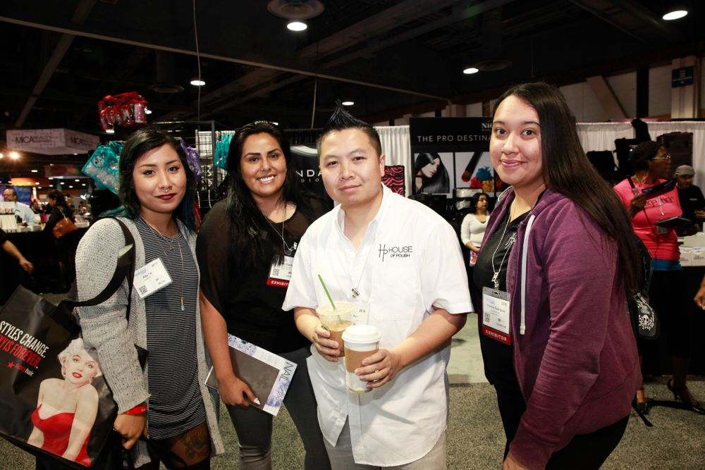 <p>House of Polish show attendees Elsy Pac, Ruby Olazaba, co-owner David Ngo, and Yessenia Rodriguez</p>