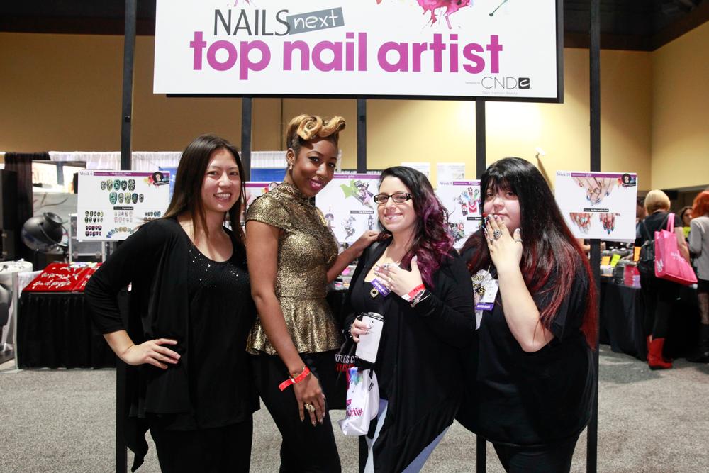 <p>VietSALON's Kim Pham with NAILS Next Top Nail Artist Top 3 Lavette Cephus, Danielle Costantino, and Lexi Martone</p>
