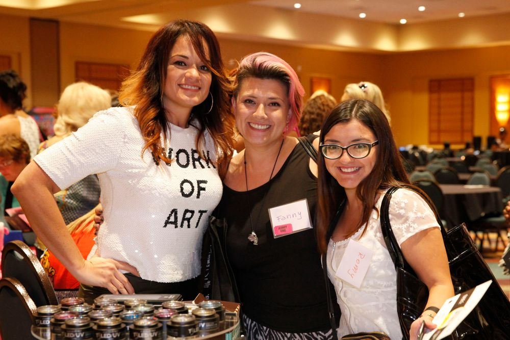 <p>Cuccio's Marilyn Garcia with Fanny Salinas and Romy Suarez</p>