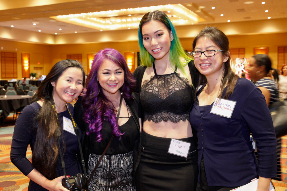 <p>VietSALON's Anh Tran and Kim Pham (far right) with Huong Lu and Thoa Tang</p>