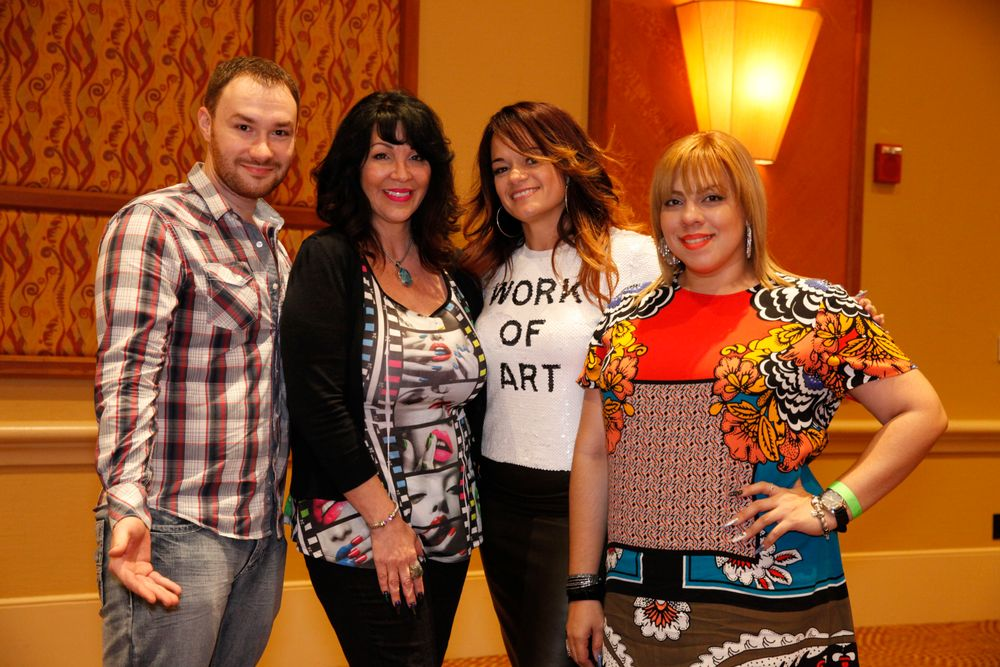 <p>Nail Talk Radio's Braden Jahr and Athena Elliott with Marilyn Garcia and Amy Santiago</p>