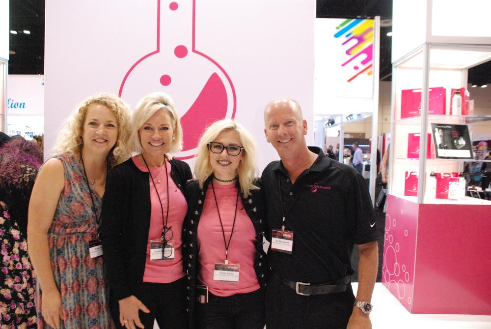 <p>NAILS editor Erika Kotite with Light Elegance's Leslie McConnell, Ruth Deruddere, Celina Ryden, and Jim McConnell</p>