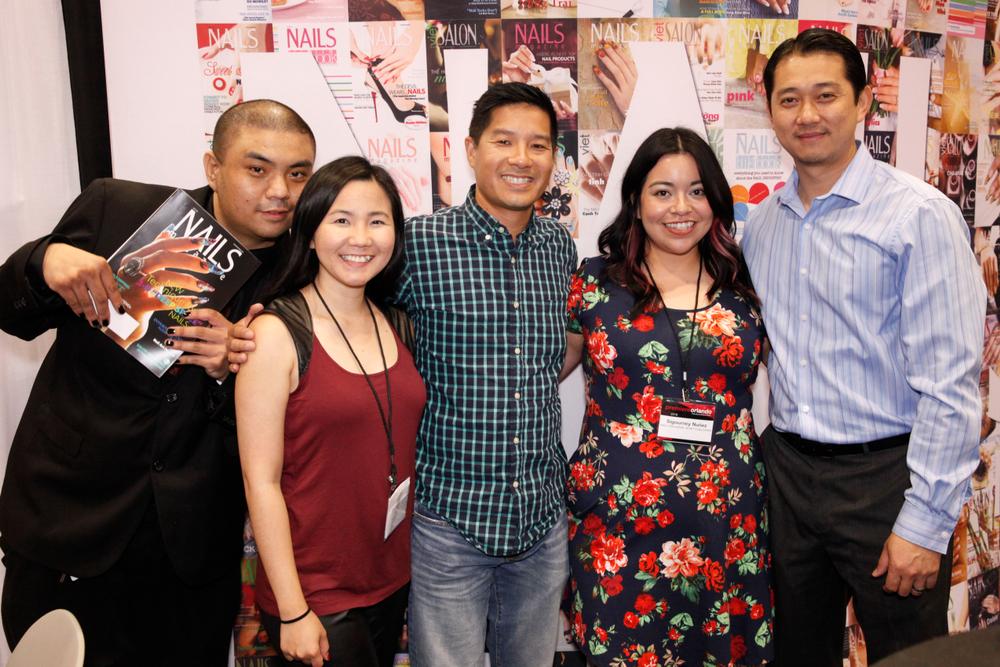<p>Kenny Vo, VietSALON managing editor Anh Tran, Advance Beauty College's Tam Nguyen, NAILS associate editor Sigourney Nu&ntilde;ez, and Lexor's Nick La.</p>