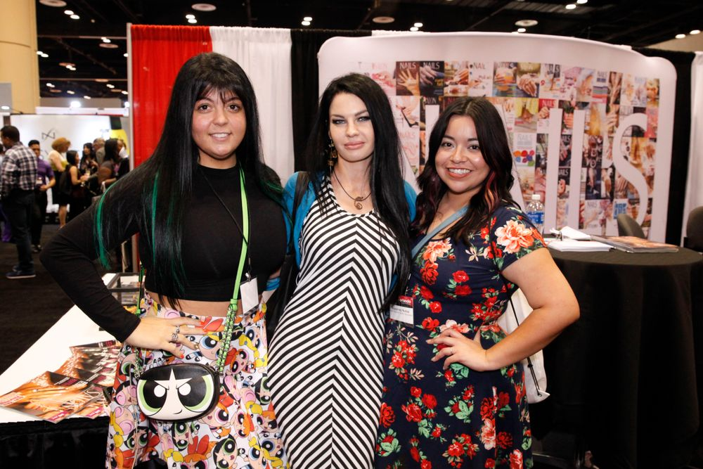 <p>Past NAILS Next Top Nail Artist competitors Lexi Martone and April Ryan with NAILS' Sigourney Nu&ntilde;ez</p>