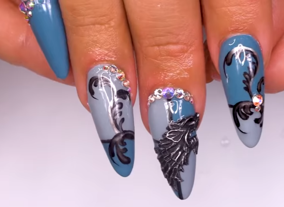 Game of Thrones Stark Wolf Nail Art