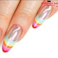 Rainbow French Tip Nail Art