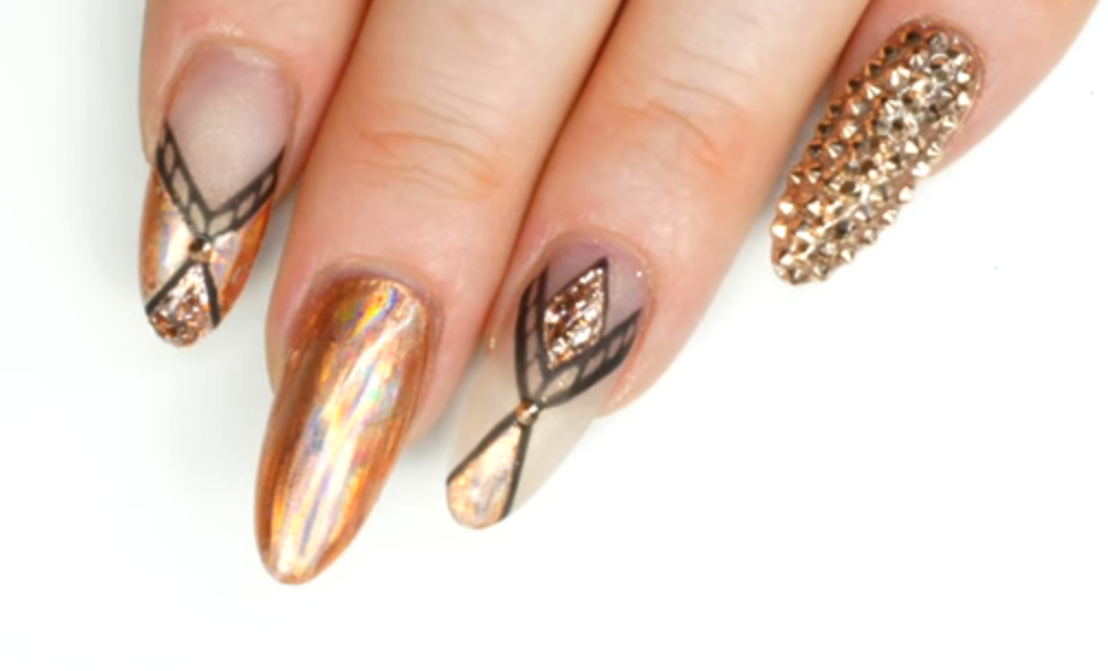 Rose Gold Geometric Nails Tutorial