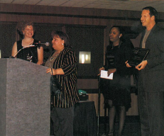 """<p>Nancy Lawrence, owner of Savoir Faire, is the """"quite one"""" on her staff (staffer Susan """"Sam"""" Everhart cried so loudly when the salon's name was announced, it caused a hush to come over the audience). Lawrence thanked her obviously committed staff and her clients for making it possible for her to earn the distinction of 1999-2000 Salon of the Year, 1-4 technicians.</p>"""