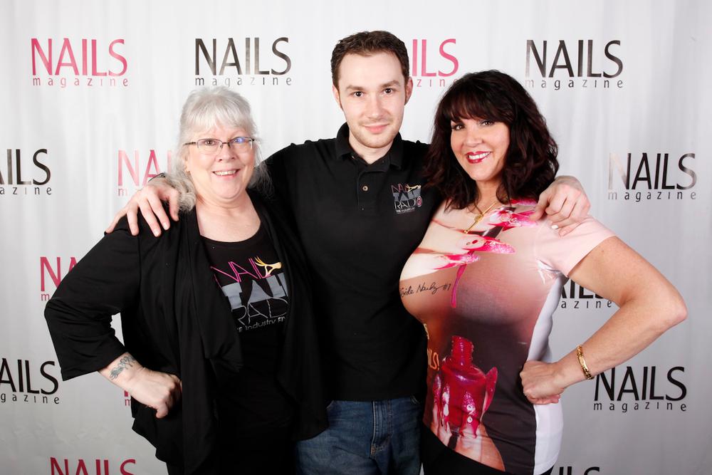 <p>Nail Talk Radio's Ellen Torchia, Braden Jahr, and AthenA Elliott</p>