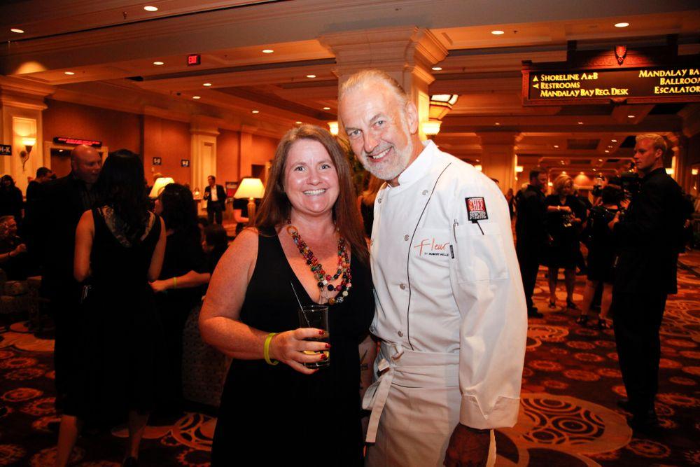 <p>NAILS' Hannah Lee with chef Hubert Keller</p>