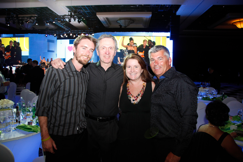 <p>Tim Crowley, OPI's Eric Schwartz, Hannah Lee, and Hand and Nail Harmony's Danny Haile</p>