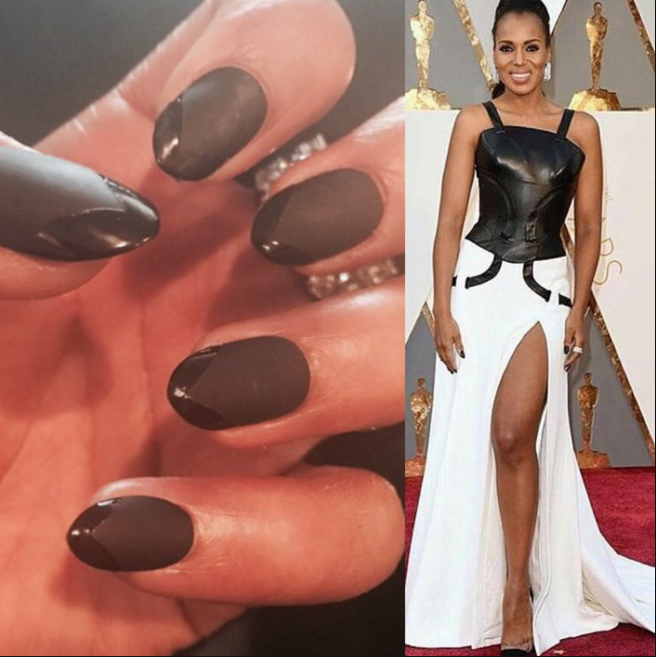 """<p>April Foreman&nbsp;gave Kerry Washington&nbsp;leather tips using OPI&nbsp;<span class=""""hash"""">to match her gown. Photo Credit: @opi_products</span></p>"""