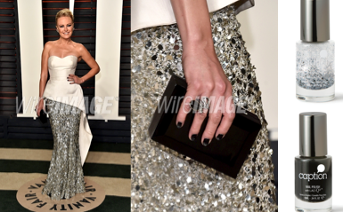 <p>Malin Akerman at the 2016 Vanity Fair Oscar Party wearing Caption Polish Look Don't Touch and Trust Me I'm Faking. Manicure by Melissa DeLaCruz. Photo Credit: Wire Image</p>