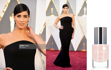 <p>Sarah Silverman at the 2016 Vanity Fair Oscar Party wearing Caption Polish Rough, Tough and in the Buff. Manicure by Melissa DeLaCruz. Photo Credit: Getty Images</p>