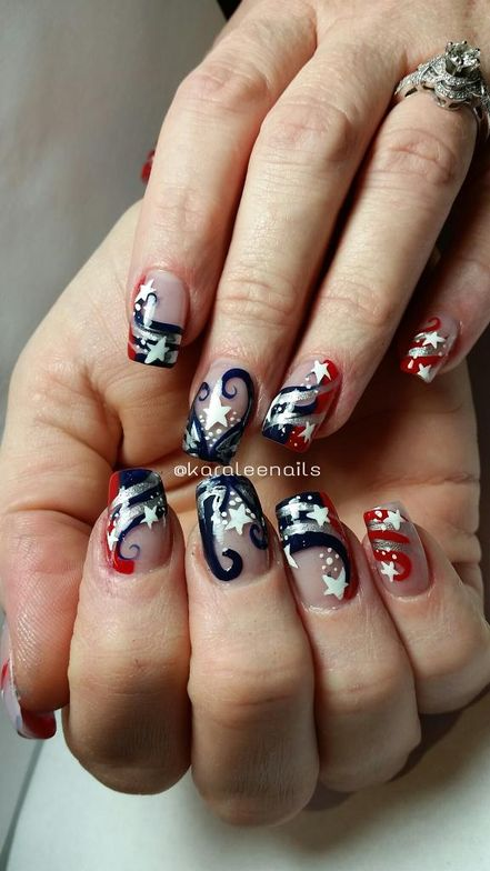 <p>Patriots-inspired nails by Karalee Chabot</p>