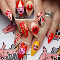 Cute Pig Nail Art for the Lunar New Year