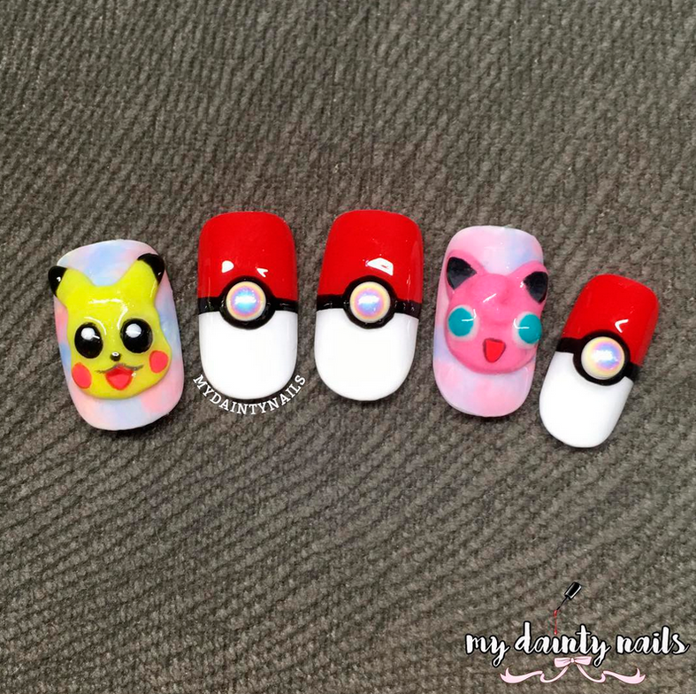 "<p>Pikachu, pok&eacute; ball, and Jigglypuff nails by <a href=""http://www.instagram.com/mydaintynails"">@mydaintynails</a></p>"