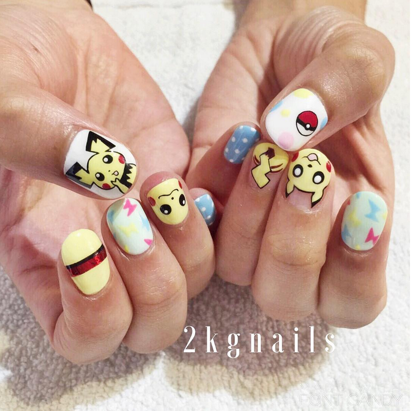 """<p>Pikachu and Pichu nails with pok&eacute; ball by <a href=""""https://www.instagram.com/2kgnails"""">@2kgnails</a></p>"""