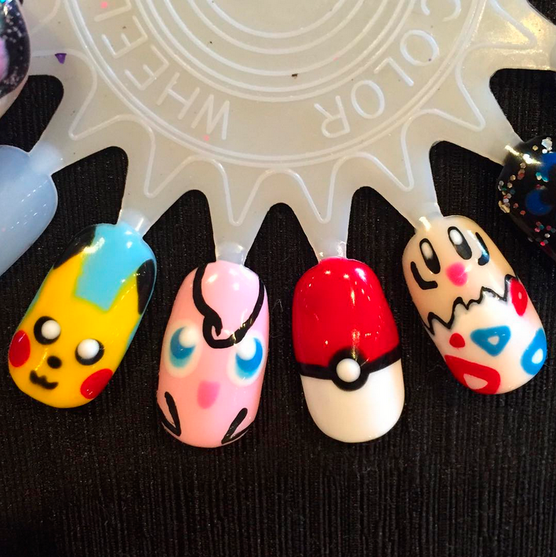 "<p>Pikachu, Jigglypuff, poke ball, and Togepi nails by <a href=""https://www.instagram.com/chelseacarolenails/"">@chelseacarolenails</a></p>"