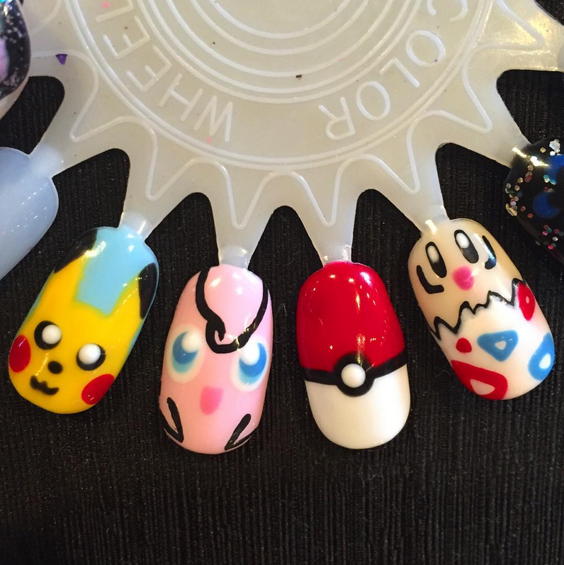 """<p>Pikachu, Jigglypuff, poke ball, and Togepi nails by <a href=""""https://www.instagram.com/chelseacarolenails/"""">@chelseacarolenails</a></p>"""