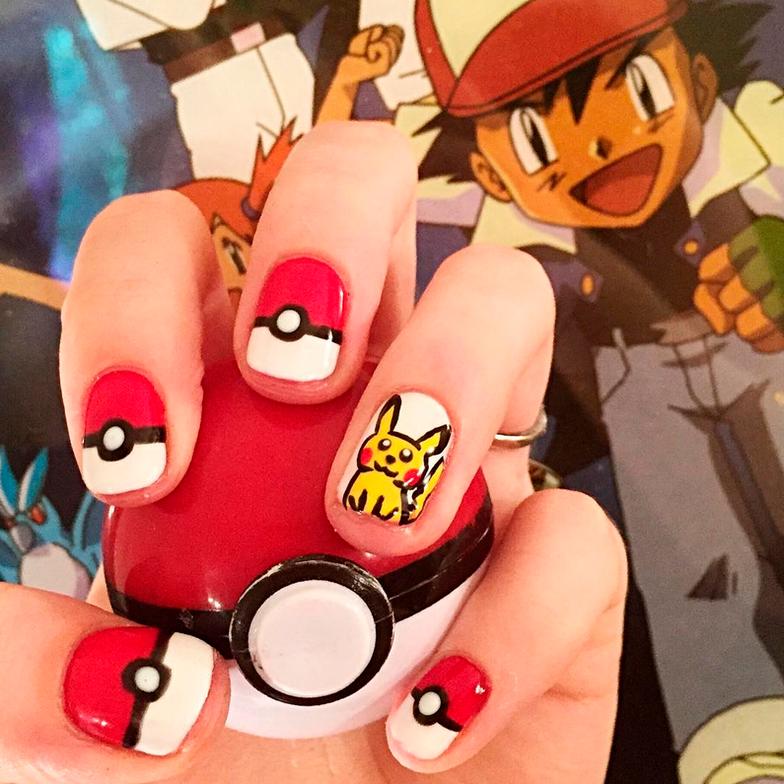 """<p>Pok&eacute;ball and Pikachu nails by <a href=""""https://www.instagram.com/chelseacarolenails/"""">@chelseacarolenails</a></p>"""
