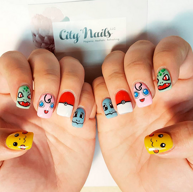 "<p>Pikachu, Bulbasaur, Jigglypuff, pok&eacute; ball, and Squirtle nails by <a href=""https://www.instagram.com/citynailswillits"">@citynailswillits</a></p>"