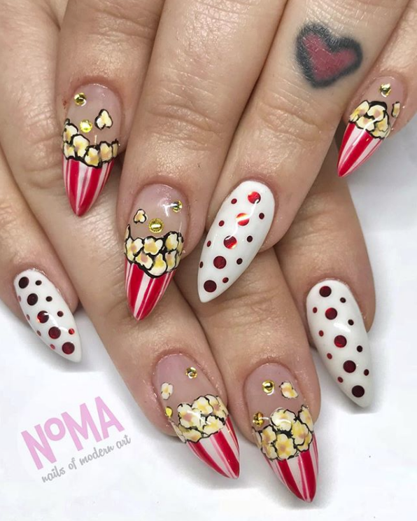 Popcorn Nails for National Popcorn Day