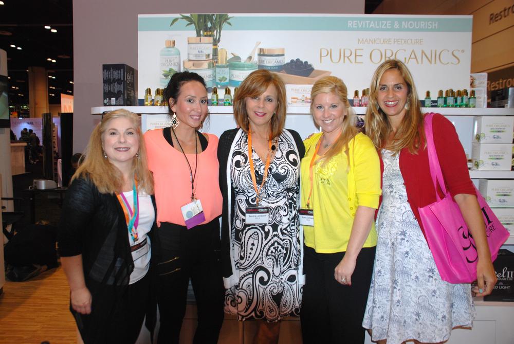 <p>Gel II team Margo Reed, Alena Clark, Sandie Lombardi, Rosie Johnson, and NAILS advertising rep Mary Baughman</p>