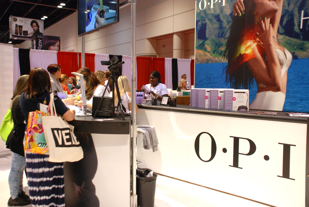 <p>OPI is a main hub at the show, showcasing its Spring/Summer Hawaii collection, Infinite Shine, and GelColor</p>