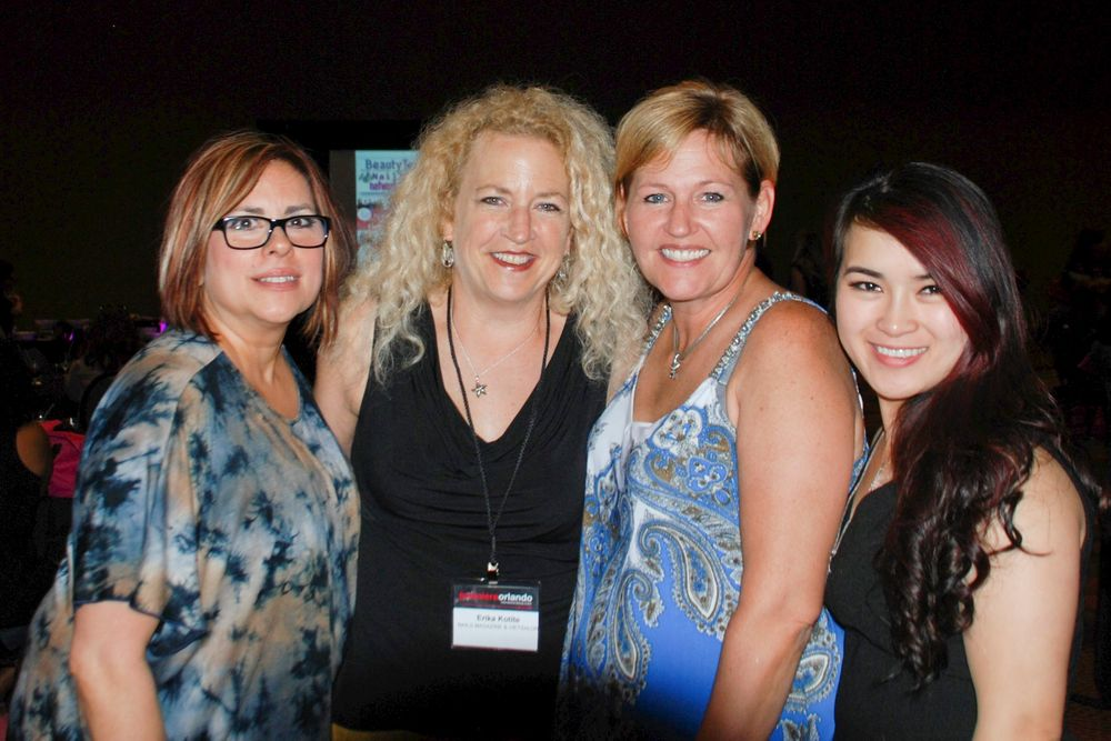 <p>From left: Orly's Vicki Jensen, NAILS editor Erika Kotite, Amazing Nails' Shelly Pechota and Nancy Tran</p>