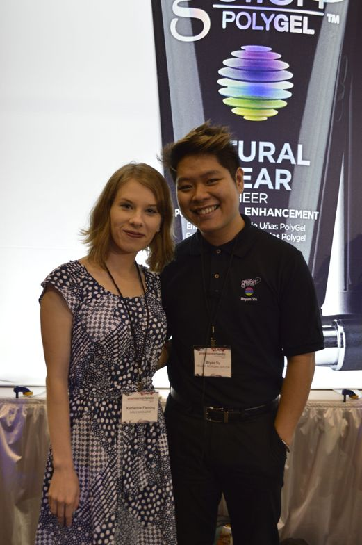 <p>NAILS editor Katherine Fleming with Gelish's Bryan Vu.</p>
