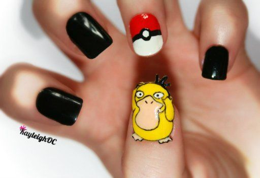 "<p>Psyduck nail art by <a href=""https://www.facebook.com/KayleighOCNailArt"">KayleighOCNailArt</a> (Facebook)</p>"