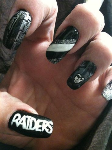 <p>Raiders nail art by Tish Lemmons</p>