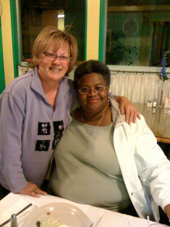 <p>Vicki and good friend Madelyn Johnson</p>