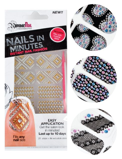 """<p class=""""sidebar-WhitneyBASICTEXT"""">Republic Nail&rsquo;s<span style=""""font-family: Times New Roman;""""> Nails in Minutes decals offer instant nail fashion that can be applied in no time at all.&nbsp; Available in a variety of styles and patterns, these nail art packs come with a complimentary file and cuticle stick. The textured adhesive is made with acrylic resin and lasts up to 10 days. </span><br /><a href=""""http://www.republicnailusa.com"""">www.republicnailusa.com</a></p>"""
