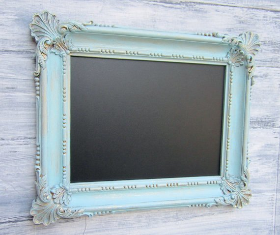 <p>If you are offering a special or have a seasonal menu item that you are changing, a non-permanent surface such as a chalkboard is a great investment. This one from revivedvintage.etsy.com is painted, framed, and ready to be written on for $84.</p>