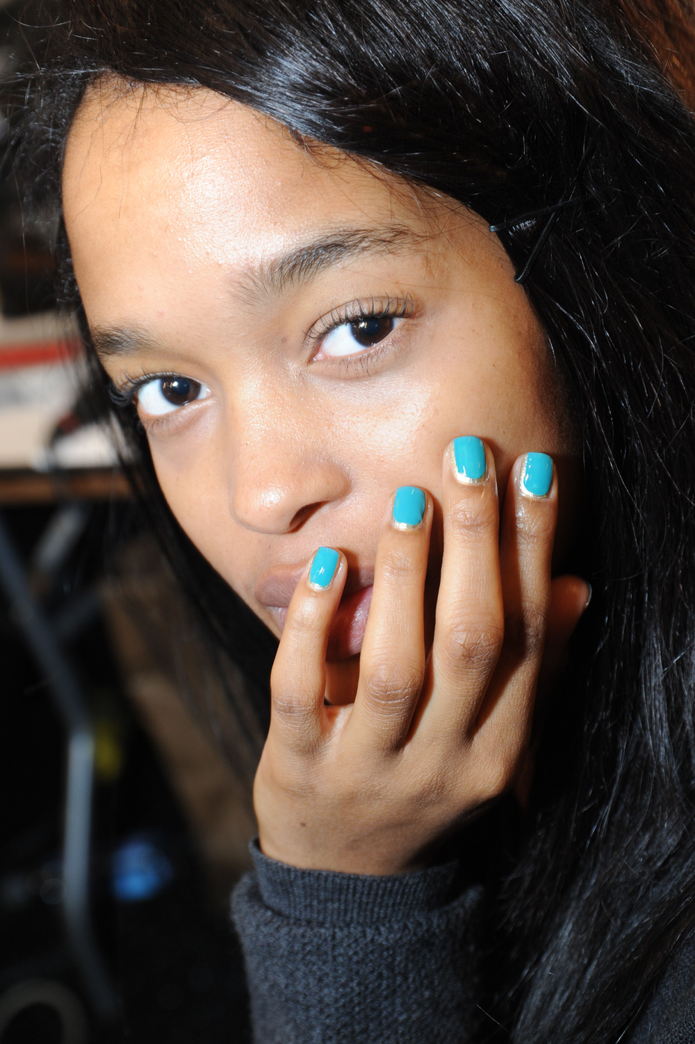<p>BOLD COLOR: Tracy Reese collaborated with Sally Hansen for the fifteenth consecutive season to create exclusive polish shades to complement her Fall 2013 collection. The Tracy Reese for Sally Hansen collection includes New Wave Blue (shown), Perfectly Poppy (scarlet), and Malbec (aubergine). Photography courtesy Sally Hansen</p>