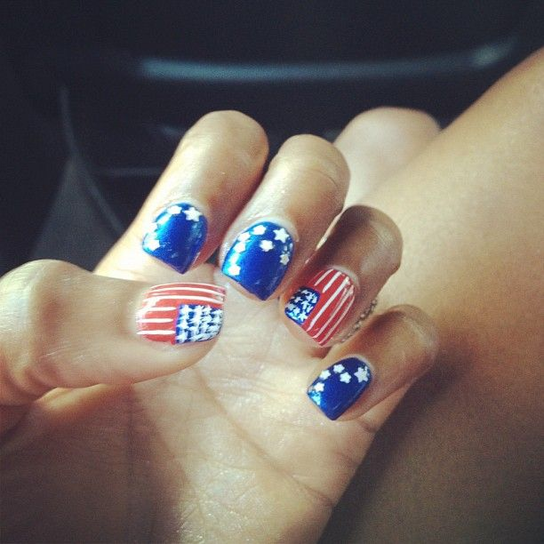 <p>Before winning gold for the US in the 400m track and field event, Sanya Richards-Ross tweeted this photo of her patriotic nails. Photo from Twitter.</p>