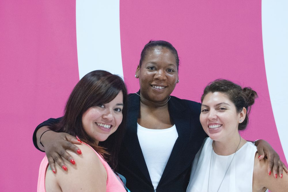 <p>NAILS editors Sigourney Nu&ntilde;ez (left) and Beth Livesay (right) discovered celebrity nail tech Bernadette Thompson&rsquo;s (center) line of polish in the Discover Beauty section.</p>